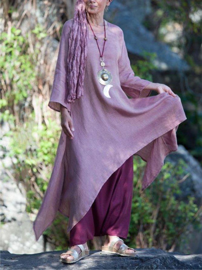Vintage asymmetrisches Langarm-Rundhalskleid aus Baumwolle ...