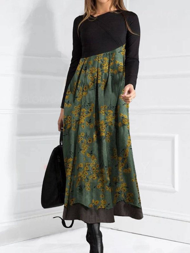 Langarm V-Ausschnitt Lange Kleider Damen aus Baumwolle ...