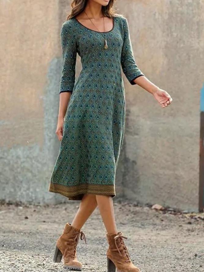 Große Größen Geometrische Kleider mit Print | Kleider ...